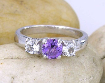 Amethyst and White Topaz 3 Stone Sterling Silver 925 Ring - made to order in your ring size - R5