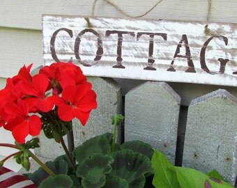 COTTAGE Sign / Reclaimed Wood Sign /  Hand Painted / Beach / Rustic / Primitive Signage