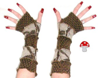 DEPOSIT Special Order Sticks And Stones Arm Warmers Fingerless Gloves Brown Natural Earthy Elf Mittens Winter Eco Friendly Warmies Tan Beige