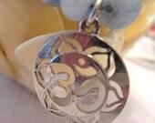 Brazilian Faceted Aquamarine Sterling Silver Lotus Flower OM Bracelet
