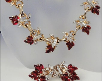 Vintage REJA Necklace Earrings Red Fruit Salad Glass Stones and Rhinestones