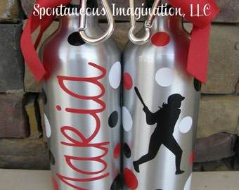 Sport Water Bottle- Softball- Personalized Aluminum Water Bottle- Sports