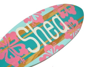 Personalized Teen Girl Gift, Decorative  Surfboard Sign, Pre Teen Girl Bedroom Decor, Teen Girl Decor, Surfer Girl Beach Decorations