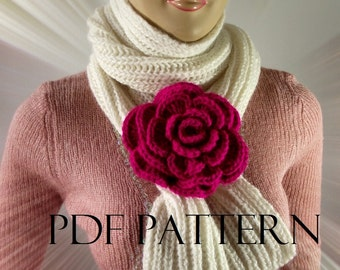 KNITTING PATTERN SCARF - Alaska Scarf Cowl Pattern with crochet flower brooch pin Brioche knitting scarf pdf pattern Instant Download