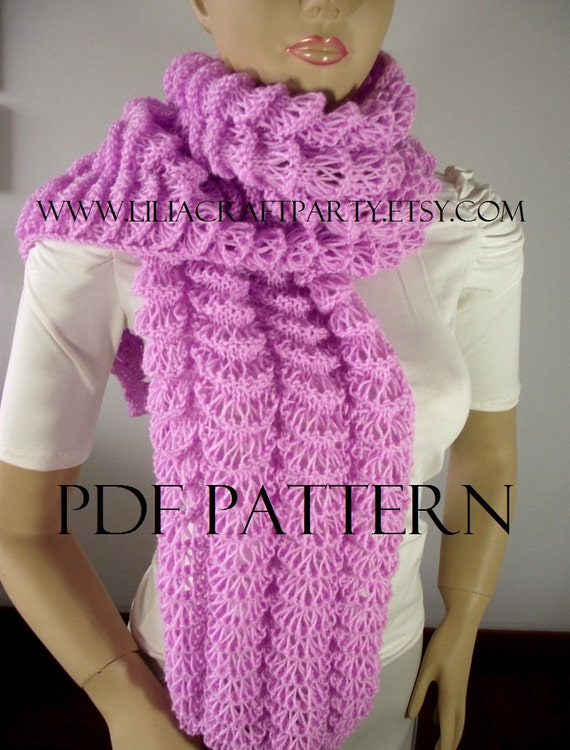 KNITTING PATTERN SCARF Angel Wings Long Chunky Scarf Cowl
