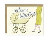 Congrats Baby Card - Pram Card, Baby Carriage Card, New Baby Card, New Mother Card, Congrats Card, New Mom, Illustrated Card