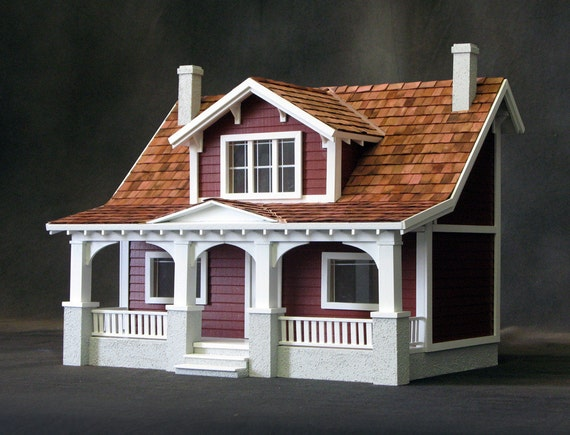 Half Inch Scale Wooden Dollhouse Kit, Charming Bungalow