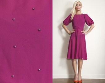 Vintage Fuchsia Pink Pearl Full Skirt 80s 70s Dress // Chiffon // Puffy Sleeves