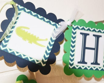 Alligator banner-preppy alligator-alligator banner-Happy Birthday banner-blue and green-Birthday Navy Blue and Green Alligator Croc