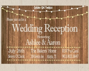 Vintage Lights Wedding Reception Invitation on Wooden Background, Reception Only Invitation, rustic wedding invitation