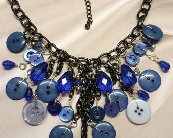 Midnight Blue Button Necklace