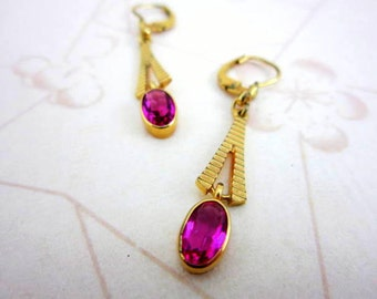 CLEARANCE SALE Art Deco pink dangle earrings - rolled gold plate and vibrant pink glass from west germany