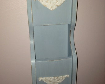 Vintage Mail and Key Holder Distressed Robins Egg Blue Shabby Chic Cottage Chic