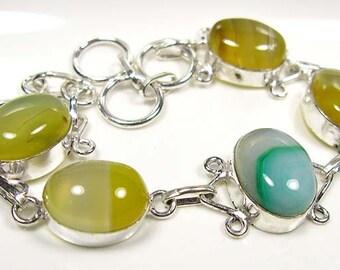 VALENTINES GIFT...Beautiful...BOTSWANA Agate 925 Silver Bracelet.