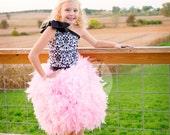 Feather Dress -  Feather Tutu Dress - Damask Tutu Dress - Damask Dress