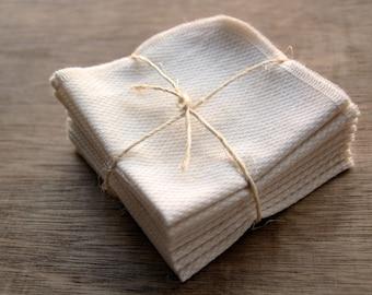 Organic Facial Cloth, Dish Cloth, Wipe Cotton Birdseye, Reusable Eco Friendly -- Set of 8