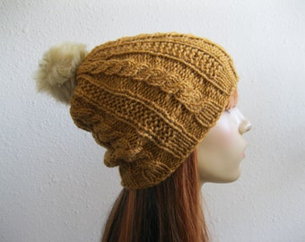 The Moss Cable Beanie Hat Knitted Harvest Gold Slouchy Beanie Hat Faux Fur Pom Pom - Ready to Ship
