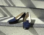Two Tone Navy Blue Heels