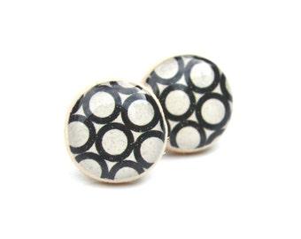 Black geometric post earrings geometric studs white studs eco friendly jewelry, wood earrings, minimalist jewelry
