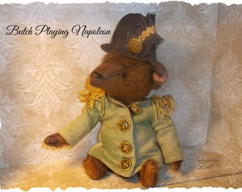PDF EPattern  to make 7 inch Bear 'Butch' Playing Napoleon  Vintage Style  Mohair  by Artist KarynRuby
