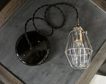 Industrial Pendant Silver Socket Light, Cage Lighting, Hanging Trouble Light, Upcycled Kitchen Light Fixture, Antique Farmhouse Light