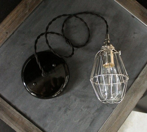 Industrial Pendant Silver Socket Light Cage Lighting Hanging