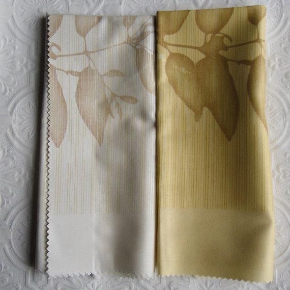 Designer Fabric Samples - 2 Fat Quarters  - Aspen in Gold and Cream and Aspen Voile in Gold, Cream and Silver - Cushion Fabric