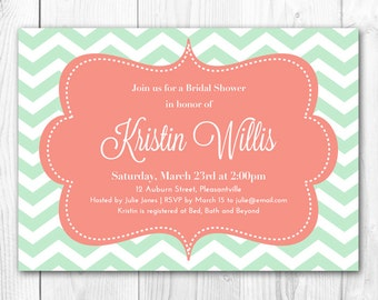 Mint Bridal Shower Invitation - Modern Chevron in Mint & Coral. DIY Printable Bridal Shower Invite or Baby Shower Invitation.