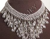 Modern Ukrainian Handmade Beads Beaded NECKLACE Waterfall Gerdan: White /SILVER.