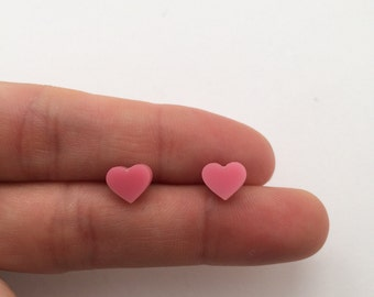 Small pink Acrylic / perspex laser cut earrings heart studs