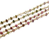 Natural Faceted Tourmaline gemstone gold Plated wire wrapped chain Beaded Chain, rosary chains, Beads Bulk Chain Spools, beads supplies