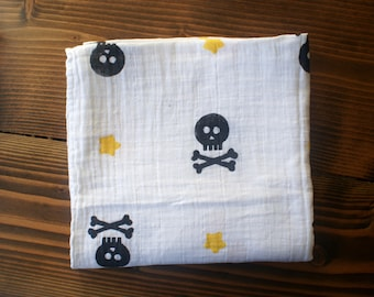 Skulls and Stars cotton muslin swaddle blanket