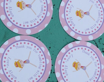 FLIP and TUMBLE GYMNASTICS Tumbling Theme Party Happy Birthday Favor Tags or Stickers 12 One Dozen You Pick Hair Color