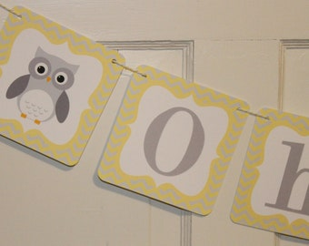 MOD OWL Theme Baby Shower or Happy Birthday Party Banner Chevron Yellow Gray - Party Packs Available