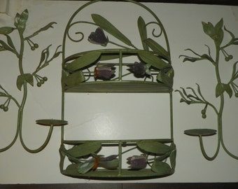 Wall Shelve with Two Candle Scones Set of Three Very nice Metal Set