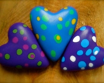 Confetti Hearts handmade polymer clay beads stones confetti colors rainbow party love