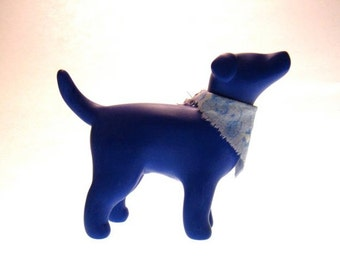 Denny marbled blue terrier dog sculpture OOAK handmade polymer clay with scarf
