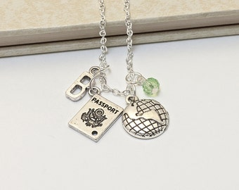 Personalized World Traveller Necklace with Your Initial and Birthstone