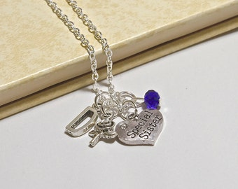 Personalized Special Sister Necklace with Your Initial and Birthstone