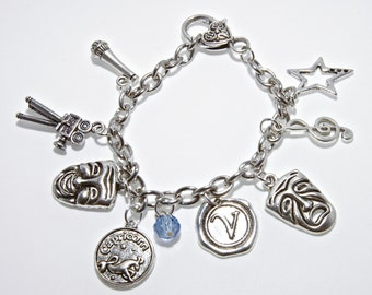 Personalized Actress/Actor Bracelet with Your Initial, Zodiac and Birthstone