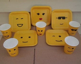 10 yellow plates, cups party decoration