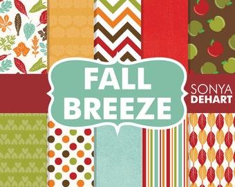 60% OFF SALE Fall Digital Paper Fall Breeze Autumn Leaves Apples Polka Dots Chevron