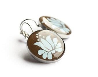 Floral earrings, Surgical steel earrings, Hungarian folk motif earrings, Brown Blue earring, Leverback, Dangle