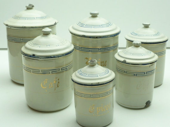 french enamel kitchen canisters set of 6 in white with blue. Black Bedroom Furniture Sets. Home Design Ideas