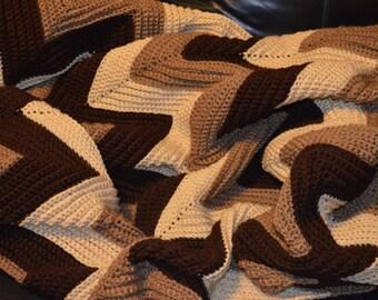 Large Crocheted Ripple Afghan in Brown Tones