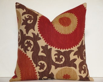 Decorative Pillow Cover - Fahri In Clove - Suzani - Red - Rust - Warm Brown - Tan