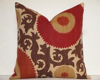 Decorative Pillow Cover - Fahri In Clove - Suzani - Red - Rust - Warm Brown - Tan