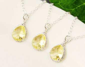 Bridesmaid Jewelry Set -15% OFF Yellow Citrine Bridesmaid Necklaces SET OF 8 - Silver Pendant Necklace - Bridal Jewelry - Wedding Jewelry