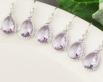 Lavender Earrings - 5% OFF SET OF 3 Bridesmaid Earrings - Silver Light Purple Earrings - Glass Drop Earrings -Bridesmaid Jewelry - Wedding