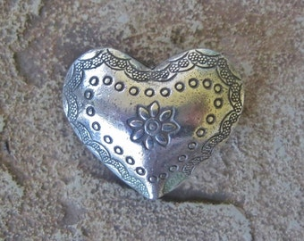 Puffed Heart Bead Large Hill Tribe Sterling Silver Pendant Bead 27.5 MM 1 Piece sale